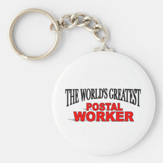 The World's Greatest Postal Worker Basic Round Button Key Ring