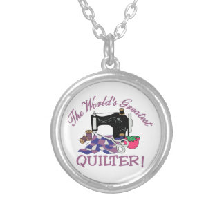 The Worlds Greatest Quilter Round Pendant Necklace