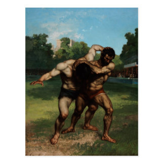 The Wrestlers by Gustave Courbet 1862 Postcard