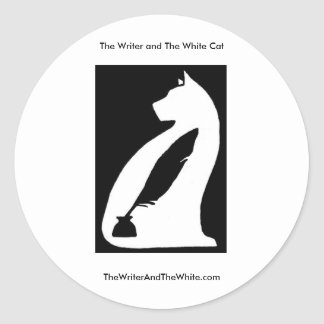 The Writer and The White Cat Round Sticker