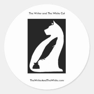 The Writer and The White Cat Round Sticker
