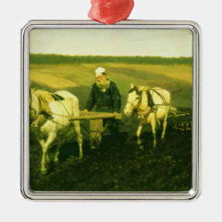 The writer Lev Nikolaevich Tolstoy Silver-Colored Square Decoration