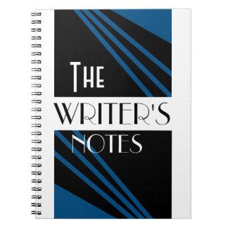 The Writer's Notes Stylish Blue Black White Notebook