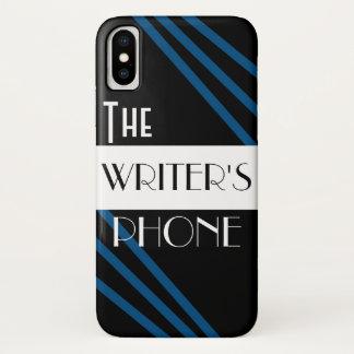 The Writer's Phone Stylish Blue Black White iPhone X Case
