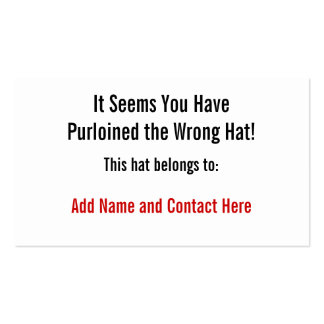 The Wrong Hat Pack Of Standard Business Cards