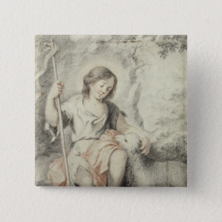 The Young John with the Lamb in a Landscape 15 Cm Square Badge