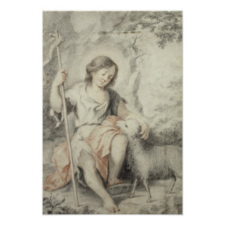 The Young John with the Lamb in a Landscape Poster