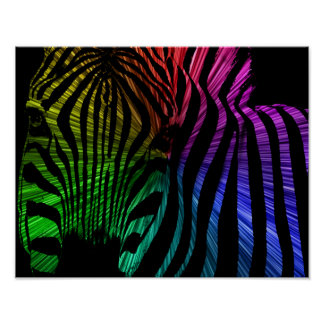 The Zebra's Face in Many Colors Poster