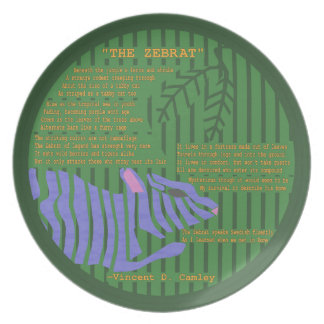 The Zebrat Decorative Melamine Plate with Poem