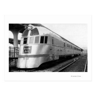 The ZepherStainless Steel Streamlined Train Postcard