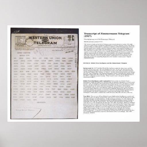 The Zimmermann Telegram Telegraph with Transcript Poster