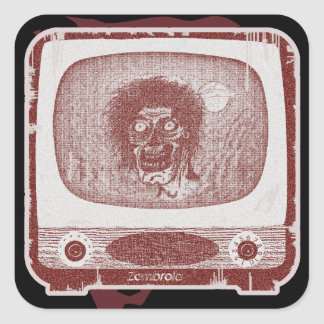 the Zombie! On TV~ Brick Red Square Sticker