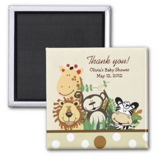 The Zoo Crew Jungle Baby Shower Favor - TAN Square Magnet