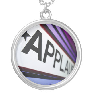 Theater Applause Sign Round Pendant Necklace
