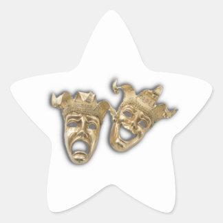 Theater Golden Comedy Tragedy Masks Star Sticker
