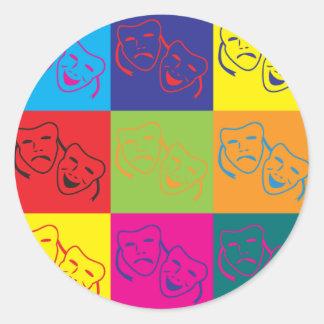Theater Pop Art Round Sticker