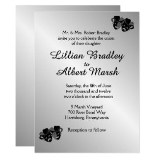 Theater Wedding Silver Invitation