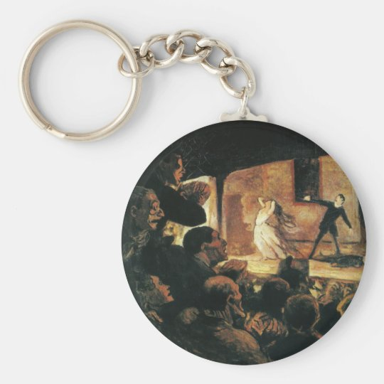 Theatre by Honore Daumier Basic Round Button Key Ring