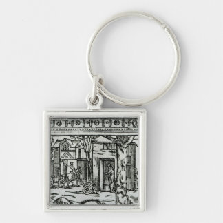 Theatre d'Agriculture et Mesnage des Champs' Silver-Colored Square Key Ring