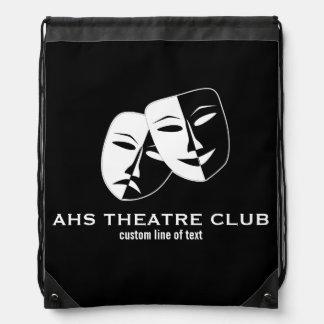 Theatre Drama Club Masks Custom Thespian Name Drawstring Bag