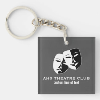 Theatre Drama Club Masks Custom Thespian Name Key Ring
