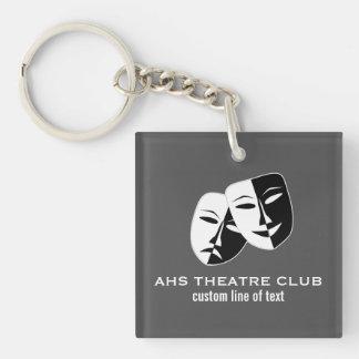 Theatre Drama Club Masks Custom Thespian Name Key Ring