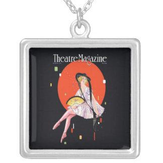 Theatre Magazine Cover 1921 Vintage Square Pendant Necklace
