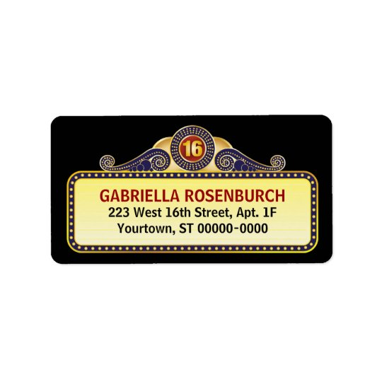 Theatre Marquee Sweet 16 Label Address Label