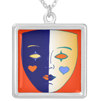 Theatre Mask Square Pendant Necklace