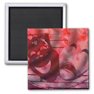 Theatre Masks Square Magnet