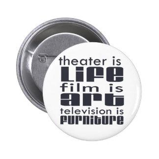 Theatre vs Film vs TV 6 Cm Round Badge