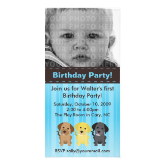 Thee Labradors Blue Birthday Invitation Picture Card