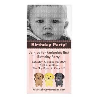 Thee Labradors Pink Birthday Invitation Personalised Photo Card