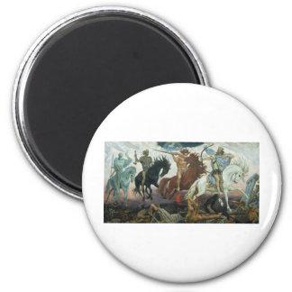 TheFour Horsemen of Apocalypse by Viktor Vasnetsov 6 Cm Round Magnet