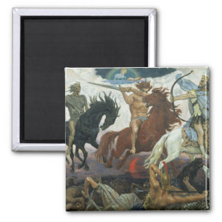 TheFour Horsemen of Apocalypse by Viktor Vasnetsov Square Magnet