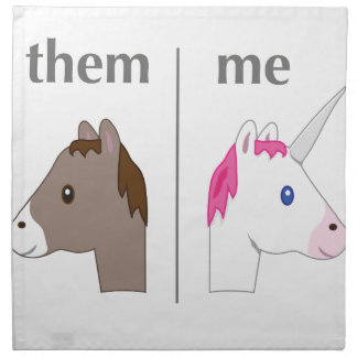 Them vs Me Donkey vs Unicorn funny Napkin