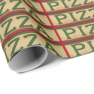 Themed pizza word art wrapping paper