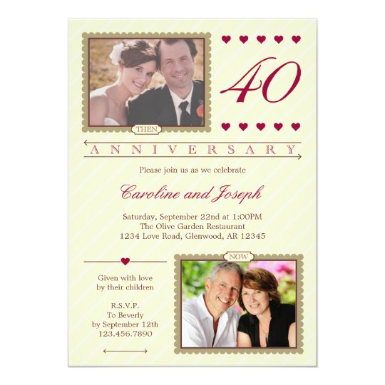 Then and Now 40th Wedding Anniversary Invitation