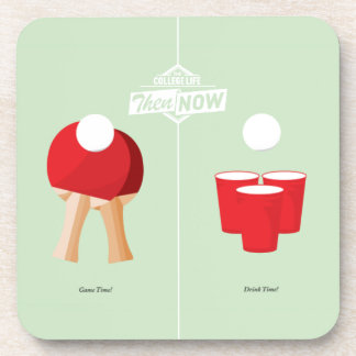 Then And Now: Ping Pong Beverage Coaster