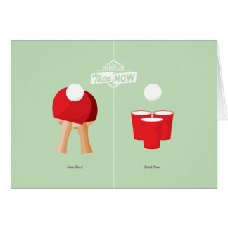 Then And Now: Ping Pong Greeting Card