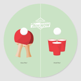 Then And Now: Ping Pong Round Sticker
