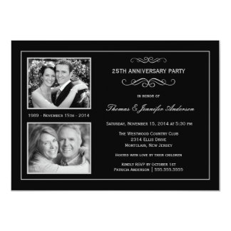 Then & Now 25th Silver Anniversary with 2 Photos 11 Cm X 16 Cm Invitation Card
