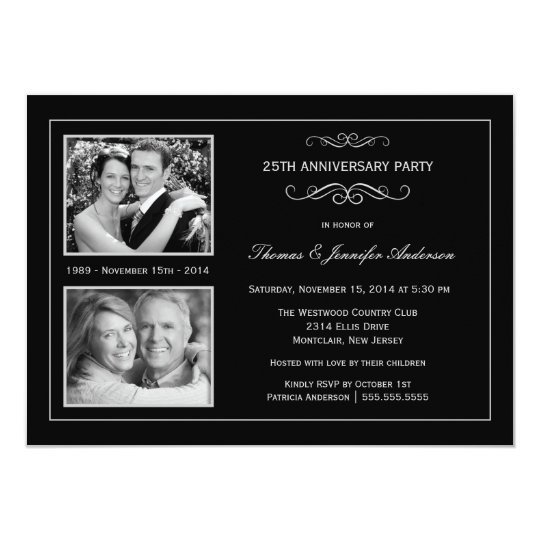 Then Now 25th Silver Anniversary With 2 Photos Invitation Zazzle