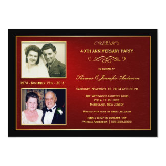 Then & Now Anniversary with 2 Photos - 40th 11 Cm X 16 Cm Invitation Card