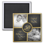 Then & Now Elegant Black and Gold 50th Wedding Square Magnet