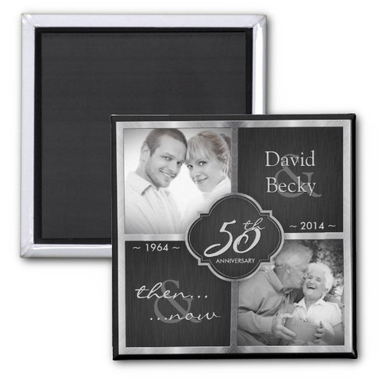 Then & Now Elegant Black and Silver 50th Wedding Square Magnet