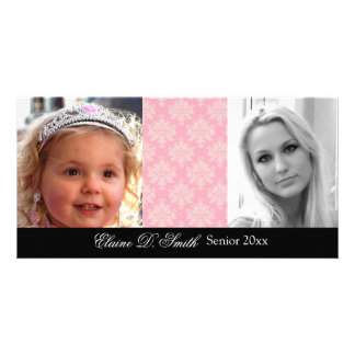 """Then & Now"" Personalized Graduation Announcement Customised Photo Card"