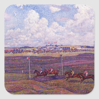 Theo Rysselberghe-Race Track at Boulogne sur Mer Square Sticker