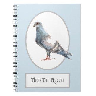 Theo The Pigeon Bird Spiral Notebook