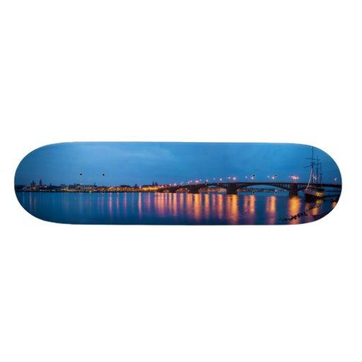 Theodor Heuss Bridge over the Rhine River Skateboard